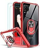 LeYi Funda Huawei P40 Lite 4G con [2-Unidades] Cristal Vidrio Templado,Transparente Carcasa con 360 Grados iman Soporte Silicona Bumper Antigolpes Armor Case para Movil P40 Lite,Clear Rojo