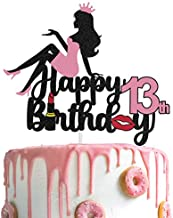 AERZETIX Makeup Cake Topper Happy 13th Birthday Girls Crown High Heel Cake Decorations Silhouette for Lady Women Makeup Spa Themed Birthday Party Decor Supplies
