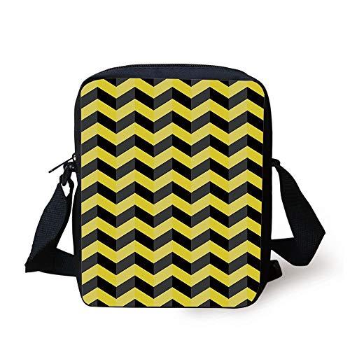 FAFANIQ Yellow Chevron,Black and Yellow Chevron Pattern Danger Hazard Warning Sign Stripes Zigzag Decorative,Black Yellow Print Kids Crossbody Messenger Bag Purse