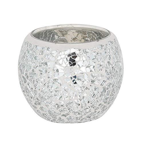 Silver Crackle Candle Holder