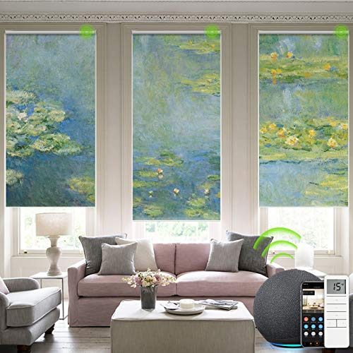 Yoolax Motorized Roller Shade with Pictures, Blackout Smart Window Blinds Works with Alexa Customized Size and Photo, Electric Blinds with Power Motor and Remote Control for Home Office (Water Lilies)
