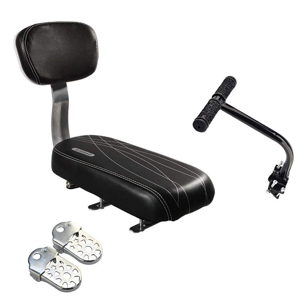Black HMANE Child Seat for Bike Front Mount Safety Seat for Bicycle Electrombile with Armrest and Pedal