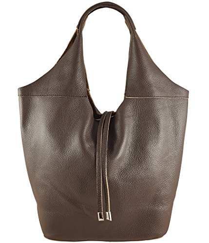 Freyday Echtleder Shopper mit Schmucktasche in vielen Farben Schultertasche Damen Henkeltasche (Dunkelbraun)