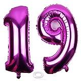 SNOWZAN Globo de 19º cumpleaños rosa niña niño número 19 globo gigante de helio número 19 globos grandes números 19 años XXL 19 cumpleaños para fiesta