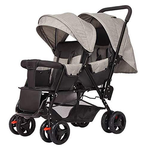 Wandelwagen, Twins Can Hin En Haar Leunend Zijn Licht Opvouwbare Dubbele Kinderwagen Hoge Kwaliteit Moderne Minimalistische,Gray