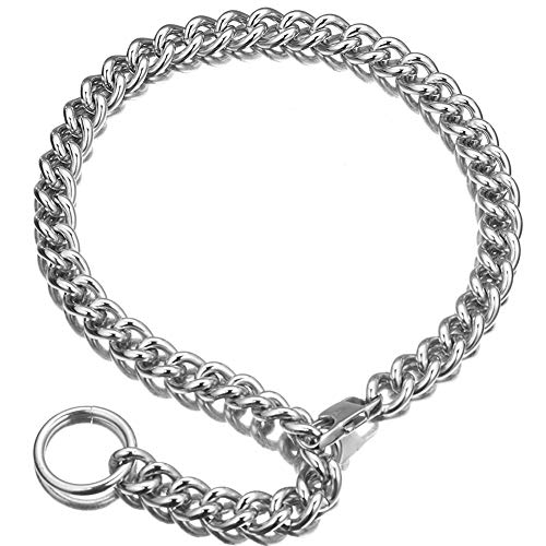 Womens Choker Chain Cuban Link Necklace woth tail 0.4inch wide Punk Rock Stainless Steel Gift for her Sexy Pendant Xxxt. Necklace (White, 20)