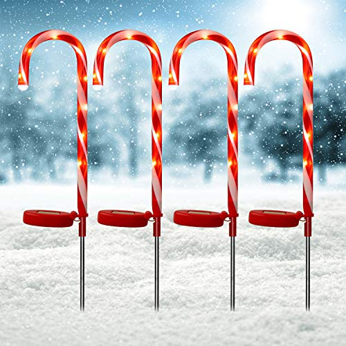 Doingart Solar Candy Cane Lights Christams Decoration - 4 Pack Outdoor Candy Cane Stakes with Built-in LED Lights for Pathway Walkway Christmas Decorations, 23 inch