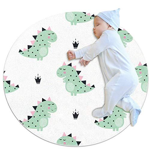 Alfombrilla de juego de bebé redonda blanca con diseño de corona de dinosaurios, alfombrilla para dormir, cojín antideslizante para niños y niños, dormitorio, para bebés, sala de estar, cama