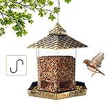 MIXXIDEA Wildvogel-Futterspender zum Aufhängen, sechseckig, Pavillon, Vogelfutterhaus, Premium-Hartplastik, mit wasserdichtem Dach, Gartendekoration, ideal Anlocken von Vögeln (Gold)