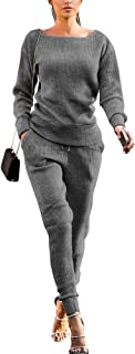 Womens Fall Rib-Knit Long Sleeve Pullover Sweater Top Drawstring Long Pants Set Two Piece Outfits Workout Tracksuit
