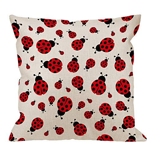 iksrgfvb Ladybug Pillow Cover,Decorative Throw Pillow Ladybird Seamless Pattern Pillow cases Cotton Linen Outdoor Indoor Square Cushion Covers For Home Sofa couch Red,45X45 CM
