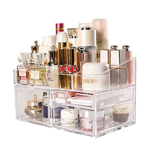 Kcakek Cosmetische Storage Box met lade kaptafel Rack Transparant cosmetische opbergdoos lade Locker Toiletries for badkamer en slaapkamer Layered Cosmetische Storage Box