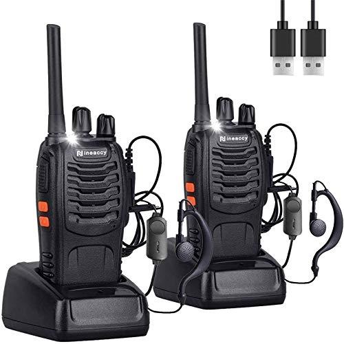 Nineaccy Talkies-Walkies BF-88E, 16 Canaux Talkie Walkie Rechargeable 1500mAh,Radios PMR446 Professionnelle Portée 3-5 km, Two Way Radio USB Rechargeables avec des écouteurs Originaux (2 pcs)