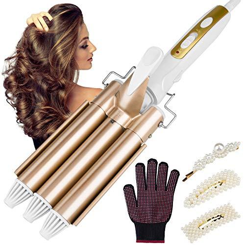 Beinhome Rizador de pelo de 3 barras, 22 mm, rizador de cerámica, ondas grandes, calentamiento rápido, temperatura ajustable, herramienta de peinado para cabello largo o corto