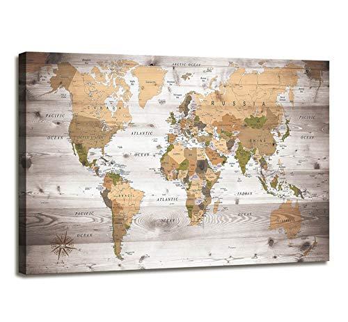 Cuadro de pared para sala de estar, mapamundi, impresión de lona grande, moderno, con marco de mapa del mundo, arte clásico, para...