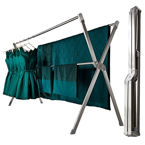 iEllevie Foldable Double Rods Stainless Steel Expandable Clothes Drying Rack Rust-Proof Guarantee, 55-95 Inch