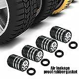 ZZMWLES 4 unids/Set Carro de Coche Motocicleta Motocicleta Neumático Válvula de Aire Tapas de Aluminio Cráneo Neumático Válvula Cap Moderling Style Betrotight 4 Colores (Color : Black)