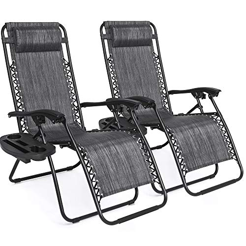 Best Choice Products Set of 2 Adjustable Zero Gravity Lounge Chair Recliners for Patio, Pool w/...