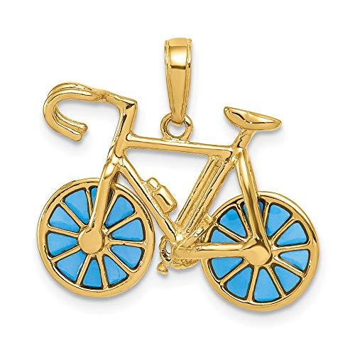 Saris and Things 14k gelbgold 3-d blau transluzent acryl-Fahrrad-anhänger