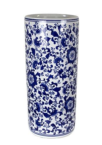 Sagebrook Home VC10473-01 Umbrella Stand, Blue/White Ceramic, 7.5 x 7.5 x 17.5 Inches
