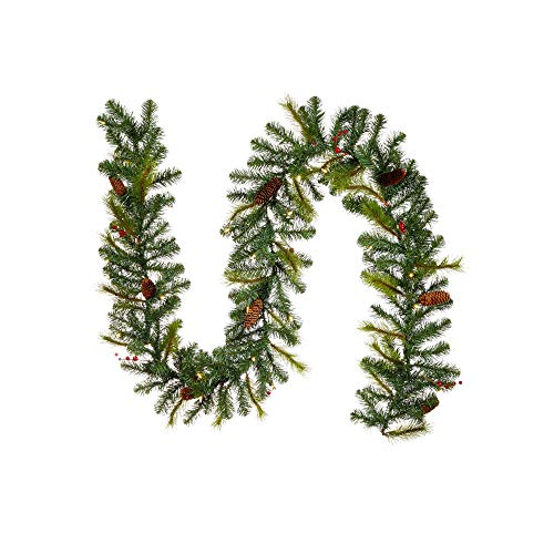 NOMA Pre-lit 9-Ft LED Berry & Pinecone Christmas Garland with Battery Operated Lights | 35 Warm White Bulbs | 180 Pine Tips | Carolina