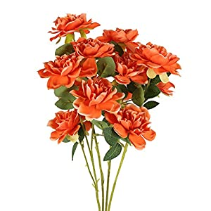 NAHUAA 4PCS 3 Heads Artificial Silk Gardenia Flowers Arrangements Large Fake Floral Bundles Home Office Farmhouse Wedding Centerpiece Arrangements Decoration (Orange)