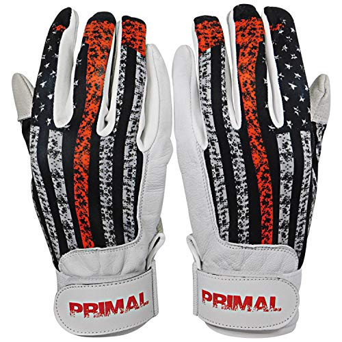 PrimalBaseball USA Firefighter Baseball Batting Gloves for Sports Players - Large