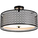 Luburs Ceiling Light Fixture, 17in Black Metal Flush Mount Light Fixture , Ceiling Lamp for Bedroom, Kitchen, Bathroom, Hallway, Stairwell (Black)