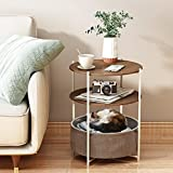 Sofa End Table, HERJOY Couch Round Side Table, 3-Tier Folding Metal Coffee Table Nightstand with Removable Tray for Living Room, Bedroom, Balcony, Office