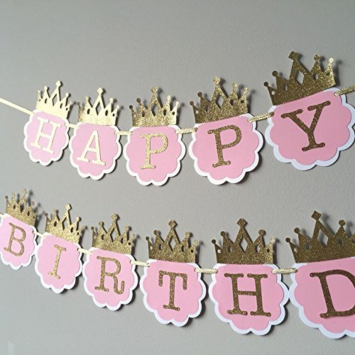 Party Propz Princess Glitter Happy Birthday Crown Banners Pink Golden