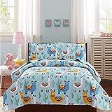 Kids Girls Alpaca Cactus Quilt Set Full/Queen Size Soft Lightweight Blue Animal Cartoon Bedspread Coverlet Children Llama Plant Bedding Bed Cover Set,1 Quilt 2 Pillow Shams