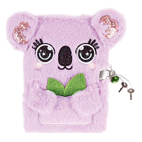 "Three Cheers for Girls - Koala Plush Locking Journal - Girls Diary with Lock and Key - Includes 160 Page Fluffy Secret Diary (6"" x 8"") with Gem Lock and 2 Keys"