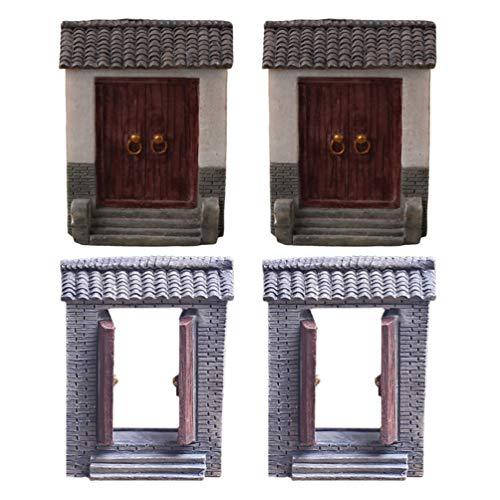 Angoily 4 Unids Mini Puerta de Jardín Jardín de Hadas Muebles en Miniatura Micro Paisaje Resina Decoración Adornos para Macetas Bonsai Artesanía Decoración