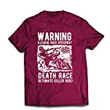 lepni.me Camisetas Hombre Carrera de la Muerte: Paseo definitivo, Carreras de Motos, Motorista de cráneo, clásico, Vintage, Moto Retro (XX-Large Borgoña Multicolor)