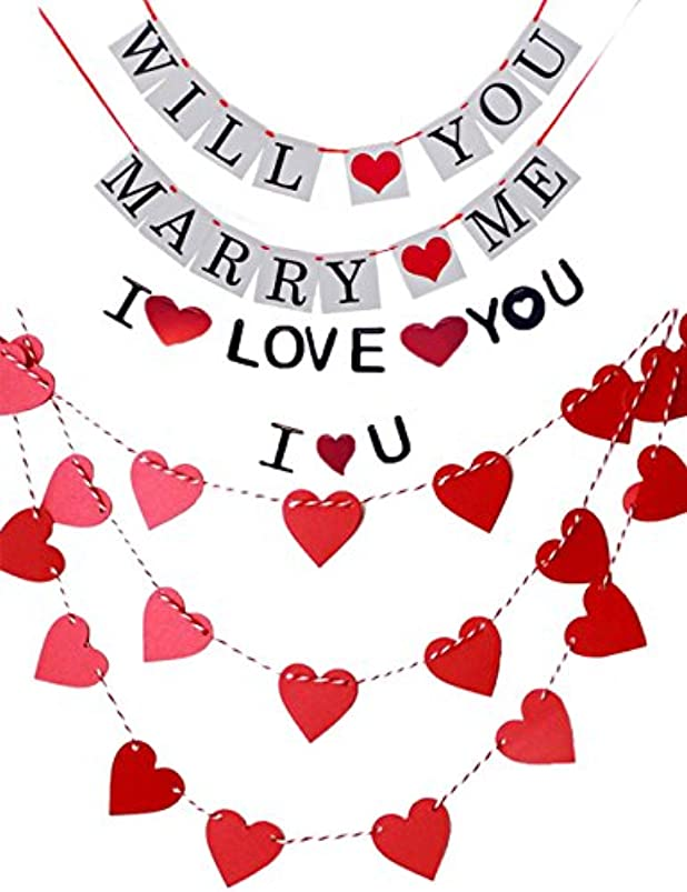 LOLOAJOY Will You Marry me Banner Garland I LOVE YOU Banner Heart Graland Proposal Party Pre-wedding Party Kit Wedding Banner Paper Garland Wedding Party Favors Supplies Party Decoration izyblvsj721026