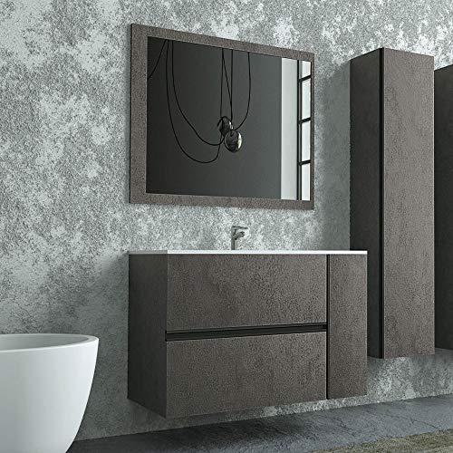 Mobile Bagno sospeso 90 cm, Colore Industrial Effetto Pietra, Completo di lavabo in Ceramica e Specchio