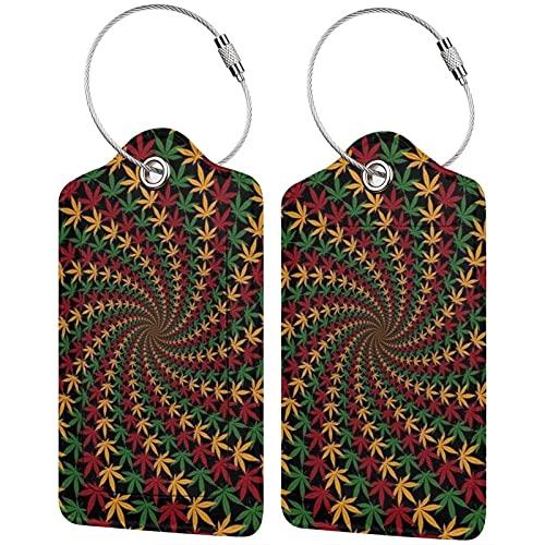 Trippy - Etiquetas para equipaje de marihuana con hoja de marihuana, microfibra de cuero, personalizadas, etiquetas de identificación para equipaje, accesorios de viaje, 2 unidades