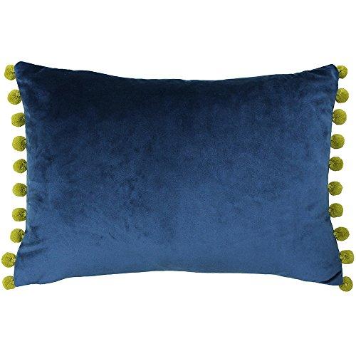Riva Paoletti Fiesta Rectangular Cushion Cover - Indigo Blue - Olive Yellow Pompom Edges - Faux Velvet - Reversible - Zip Closure - 100% Polyester - 35 x 50cm ( 14' x 20' inches)