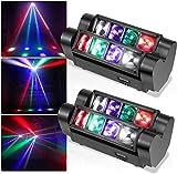 TOPQSC Party Spider Moving Light DJ Juego de 2 luces de escenario 8 LED RGB 4 en 1 y 7/13 canales DMX Control de discoteca para fiestas, DJ, discotecas, bares, discotecas, conciertos