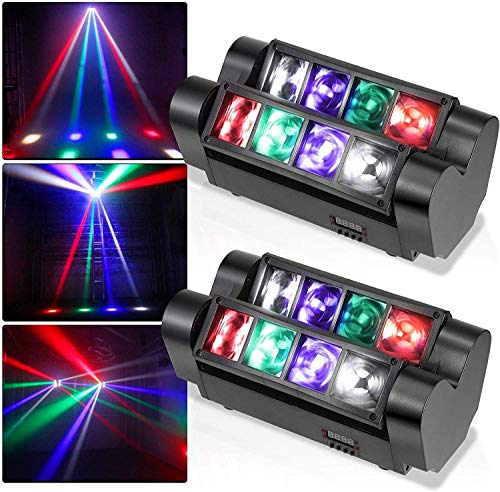 ETE ETMATE LED Moving Beam Light, Mini Spider Moving Head Light, Disco-Leuchten 8 x 3 W DMX 512 Dual Sweeper Pulse Strobe-Effektleuchten für Party Club DJ Disco Bar Ballsaal KTV (2PC)