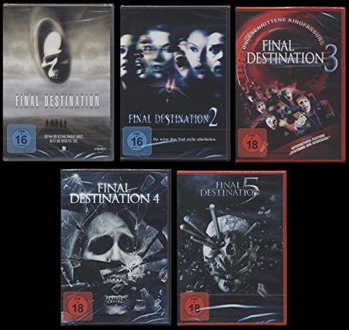 Final Destination 1+2+3+4+5 DVD UNCUT FSK 18 Edtion Set