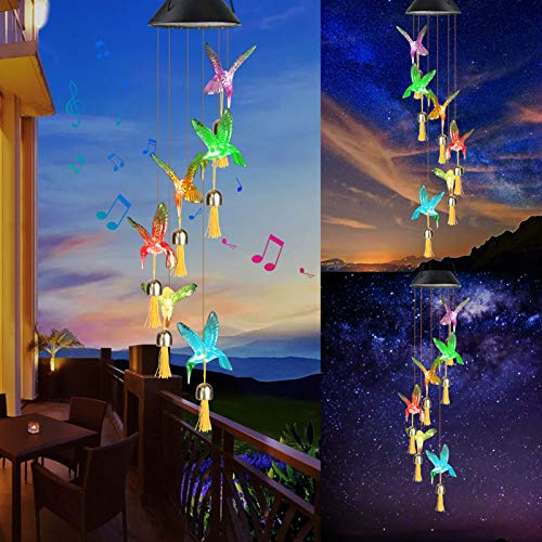 Jhua Wind Chime Solar Wind Chimes for Outside, Sympathy Bell Wind Chimes Clearance, Memorial Wind Chimes Changing Colors Lights for Yard, Garden, Indoor, Festival, Gift for Women Friend