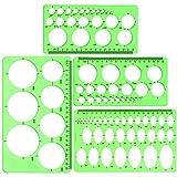 4 Paquets Règle Géométrique, Modèle de Mesure en Plastique Vert Clair, Modèle Cercle et Ovale pour Bureau école Coffrage de Construction et Modèles de Dessin