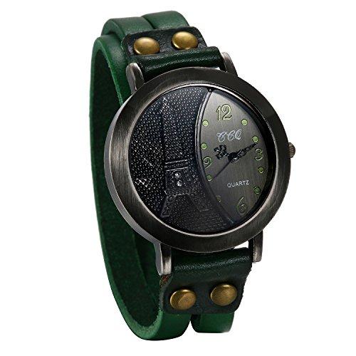 Reloj de Moda Retro Vintaje de Cuero Verde, Números Árabes Reloj de Pulsera Ajustable con Hebilla, Torre Eiffel con Diamantes, Bronce Reloj Analogico para Hombre Mujer, Regalo Navidad