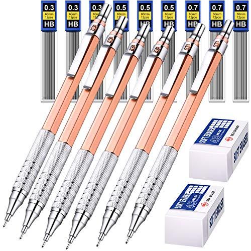 6 Piezas Lápices Mecánicos Metálicos 0,3 mm, 0,5 mm y 0,7 mm Portaminas Mecánicos de Escritura,...