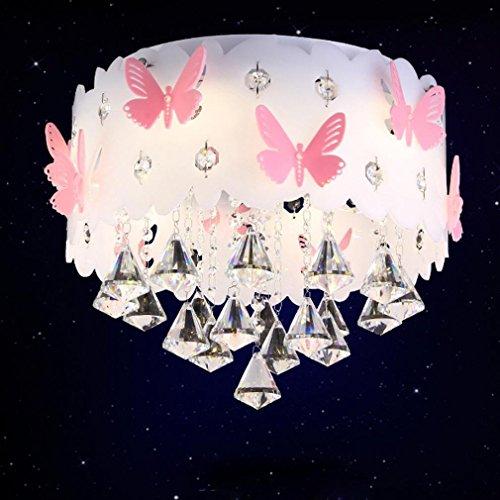 Modern Deckenleuchte Kristall Anhänger Prinzessin Mädchen Kinderzimmer Warm Romantische Hochzeit Zimmer Schlafzimmer Schmetterling Deckenlampe Runde Acryl Dekorativer Deckenbeleuchtung 3*E27 Ø35cm