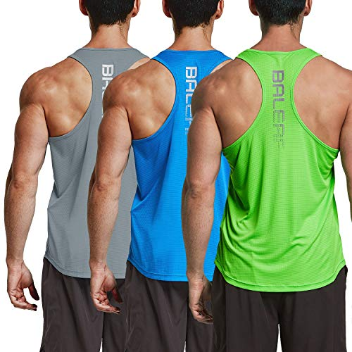 BALEAF Men's Athletic Tank Tops Workout Running Sports Sleeveless Shirts 3 Pack Gray/Blue/Neon Green Size L