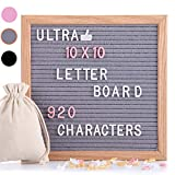 Letter Board, Felt Letter Board with 920 PCS Replaceable Letters &Lovely Emojis, 10x10 Inches Solid Oak Wood...