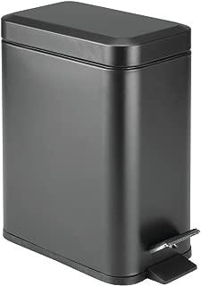 mDesign 5 Liter Rectangular Small Steel Step Trash Can Wastebasket, Garbage Container Bin for Bathroom, Powder Room, Bedroom, Kitchen, Craft Room, Office - Removable Liner Bucket - Black