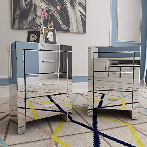 Mecor Mirrored end Table 3 Drawers Mirror Accent Side Table Silver Finished Nightstand Set of 2 for Bedroom, Living Room (Silver)
